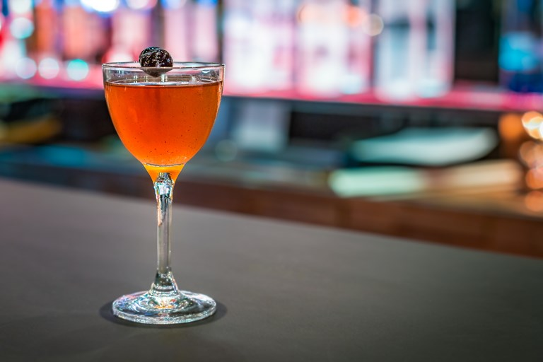 Grilled rum Manhattan