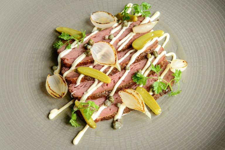 Salt beef brisket with capers, gherkins and smoked mayonnaise