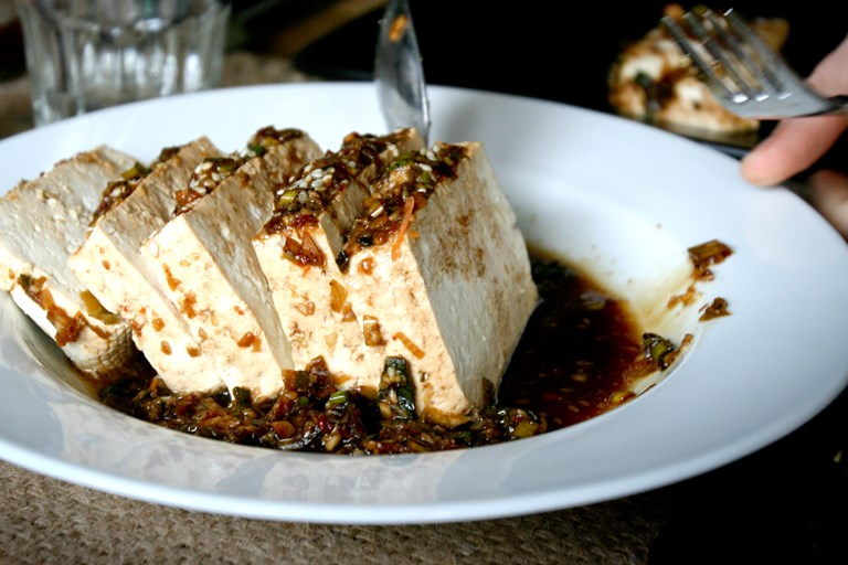 Warm Tofu in Garlic Sesame Sauce