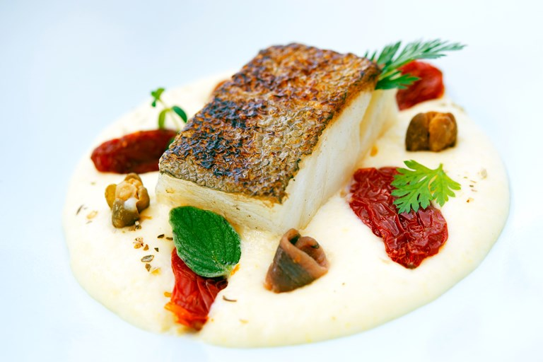 Pan Fried Cod Fillet Recipe With Polenta Mousse Great Italian Chefs
