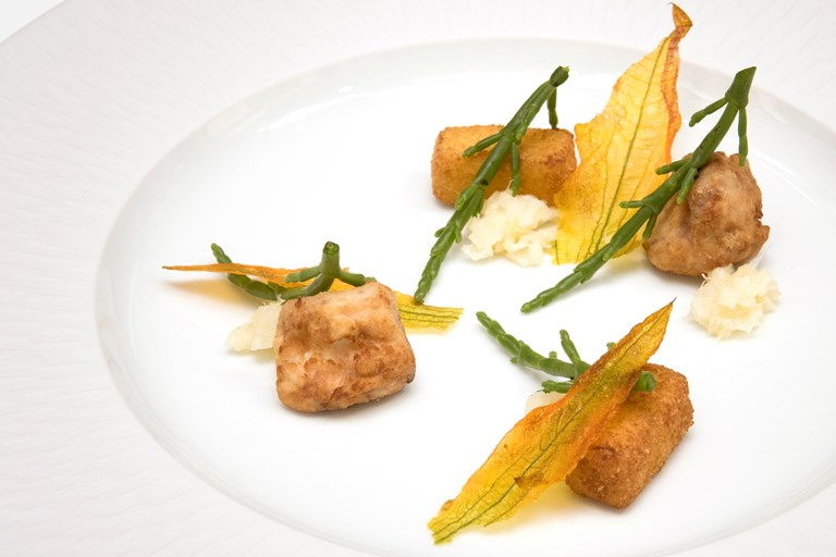 'Picnic in Liguria' - deep-fried calf's brain with lemon kimchi and courgette flowers