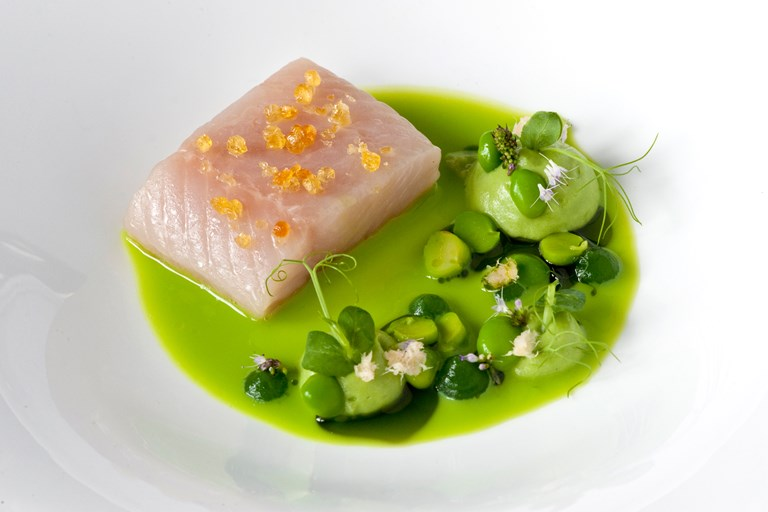 Char from Val Passiria with peas and horseradish