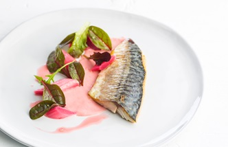 Pan fried mackerel, rhubarb compote, pickled rhubarb, mustard vinaigrette