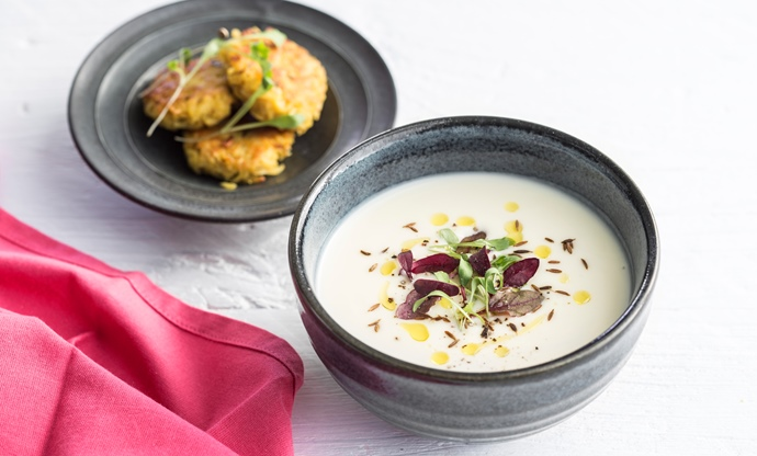 Caramelised parsnip and coconut soup with parsnip bhajis