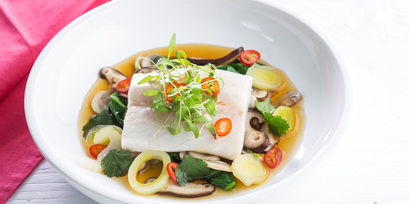 Sea Bass with Mushroom Broth Recipe - Great British Chefs