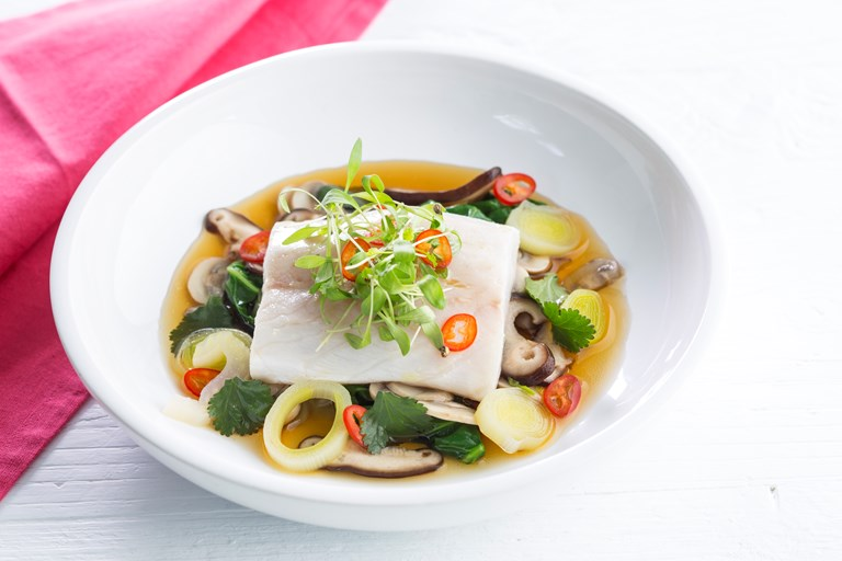 Sea bass with Japanese mushroom broth