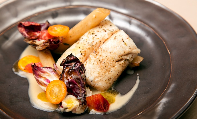 Roasted hake with salsify, citrus and raddicio