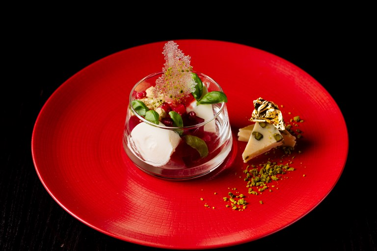 Rhubarb and Pomegranate Bhapa Doi, Pistachio Burfi