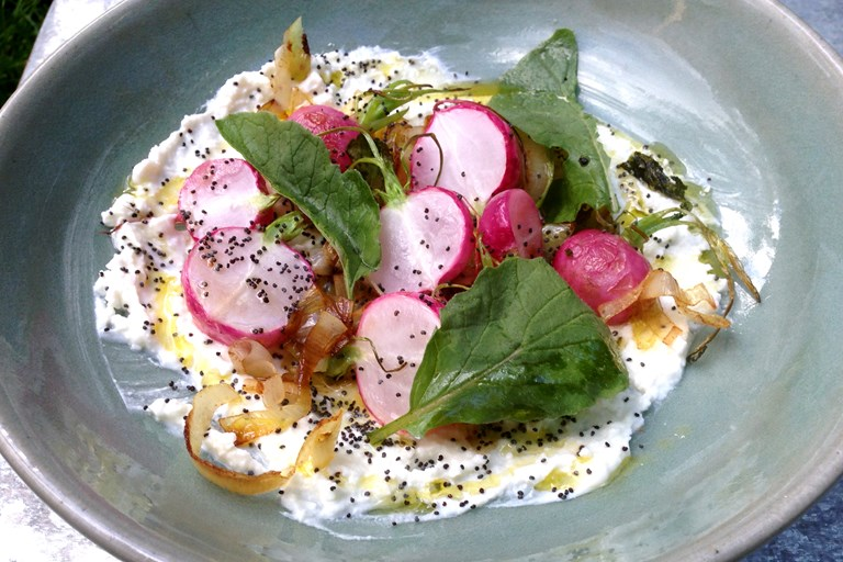 Roasted radishes with whipped feta, brown butter leeks and poppy seeds