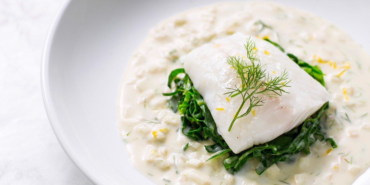 Poached Turbot Recipe With Fennel Velout 233 Great British