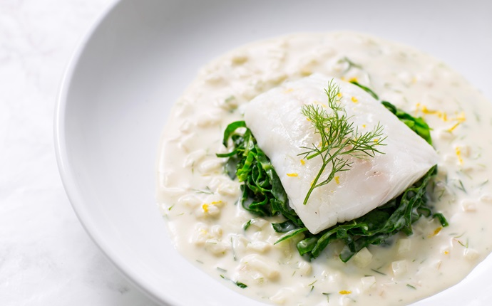 Poached turbot with fennel velouté
