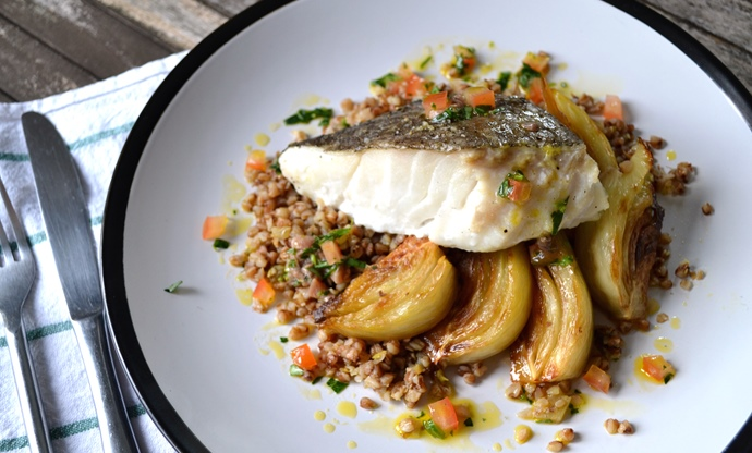 Roast cod loin with fennel and buckwheat, served with tarragon and anchovy dressing