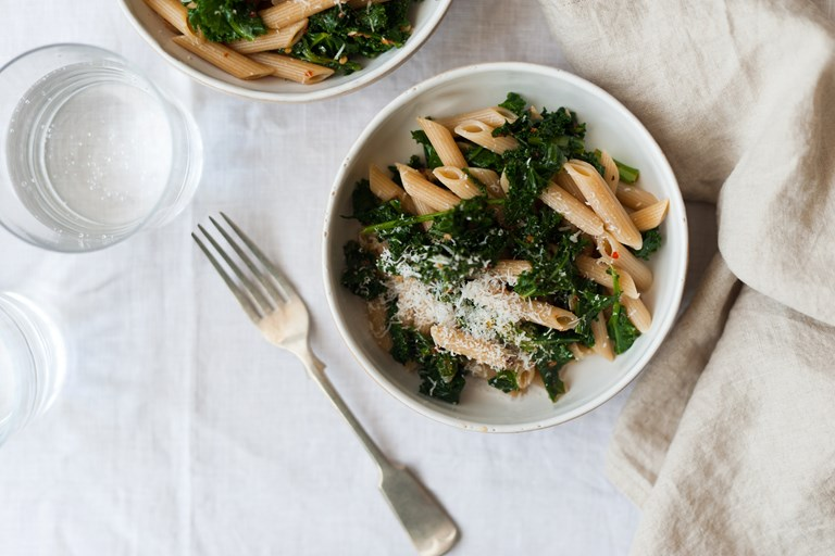Whole wheat penne with kale, chilli, garlic and pecorino
