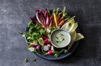 Feta yoghurt dip with garlic and fresh herbs