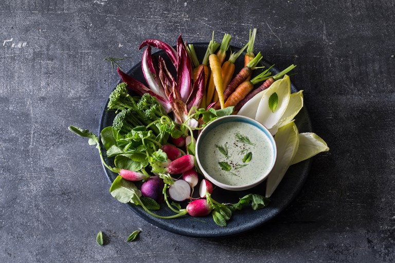Feta yoghurt dip with garlic and fresh herbs