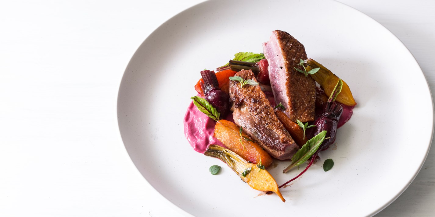 duck breast recipe with beetroot pur e great british chefs. Black Bedroom Furniture Sets. Home Design Ideas