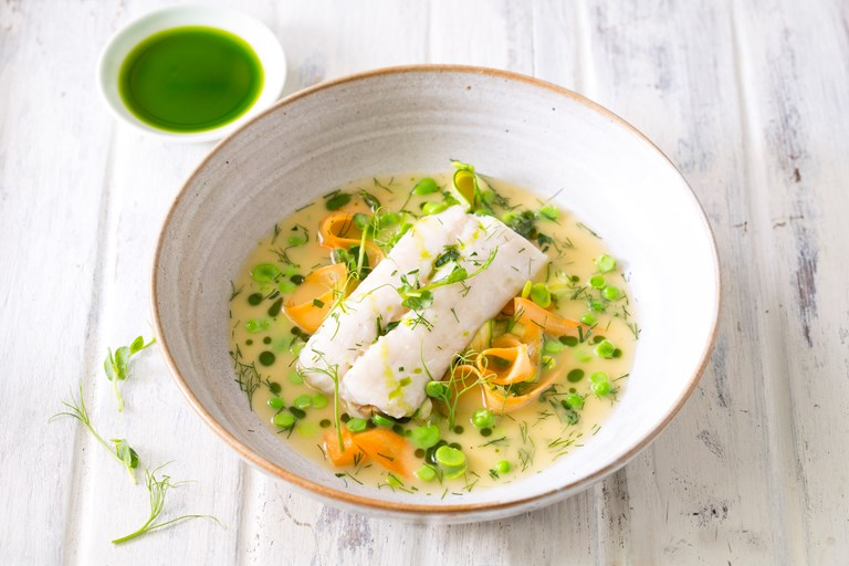 Baked Hake Recipe With Summer Vegetables Great British Chefs