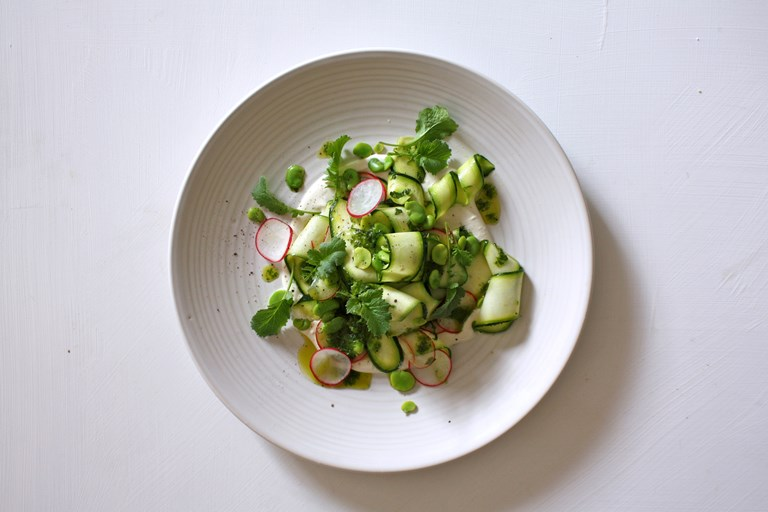 Vegan labneh, radish top sauce, courgette and broad bean salad