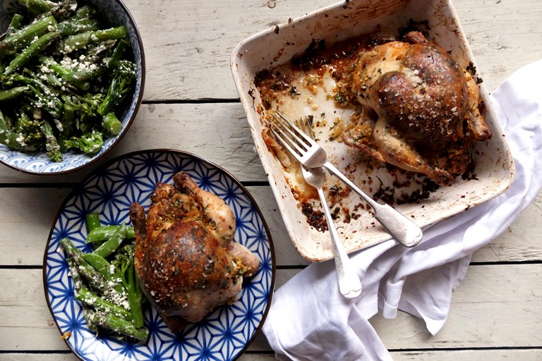 Roast poussin with bulgur wheat and preserved lemon stuffing