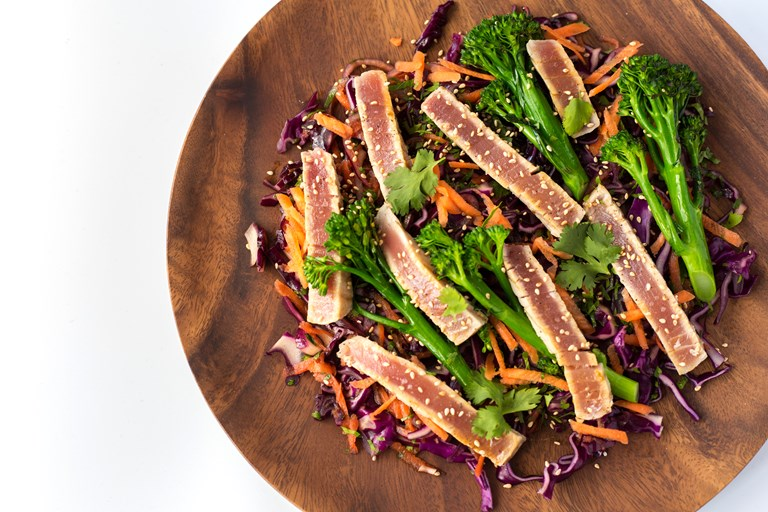 Grilled tuna steak, Asian style red cabbage slaw