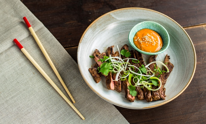 Korean style skirt steak with gochujang mayo