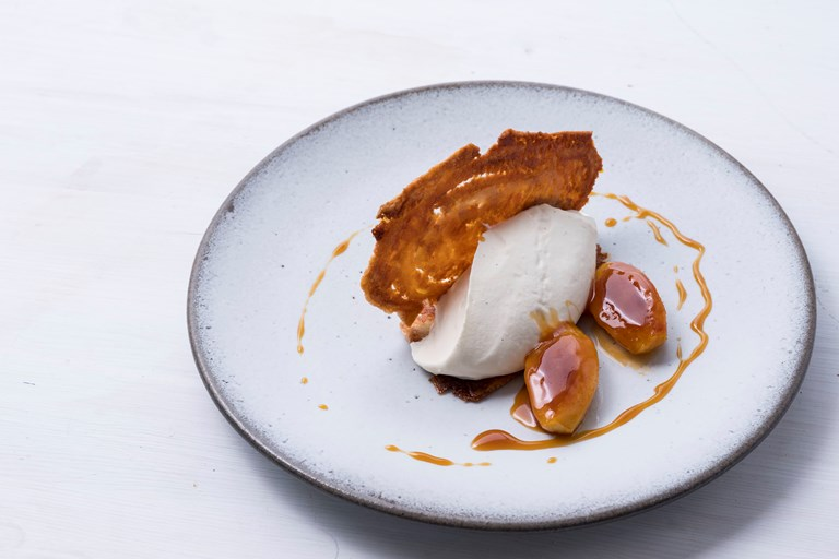 Caramelised apple with ricotta crème diplomat and arlettes