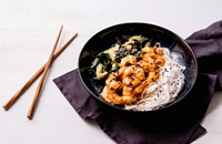 Teriyaki prawns with rice noodles and wakame salad