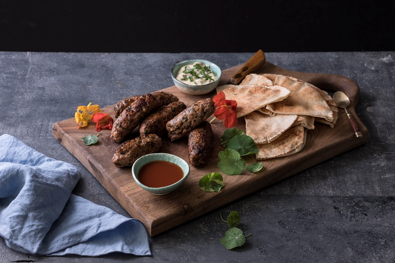Lamb and nasturtium koftas with chippy sauce