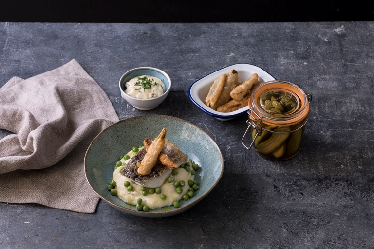 Haddock with salt and vinegar mash, frickles and walnut mayonnaise