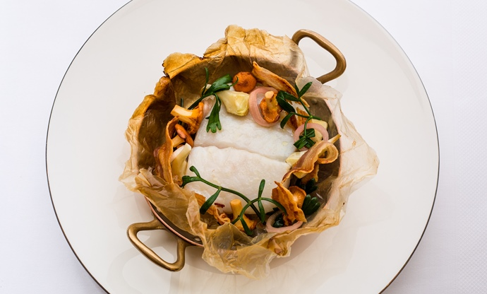 South coast turbot, smoked bacon, artichokes and girolles cooked in paper