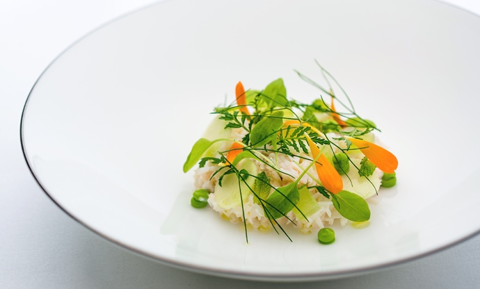Dorset crab salad, apple, cucumber, lemon verbena, herb vinaigrette