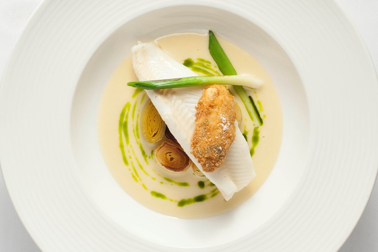 Lemon sole, oyster, smoked leeks and tarragon