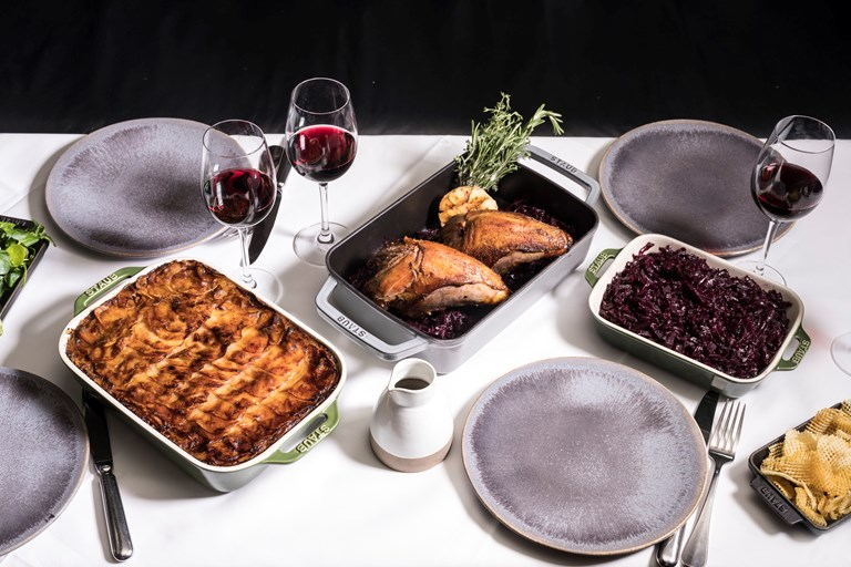 Pot-roasted pheasant with boulangere potatoes and red cabbage