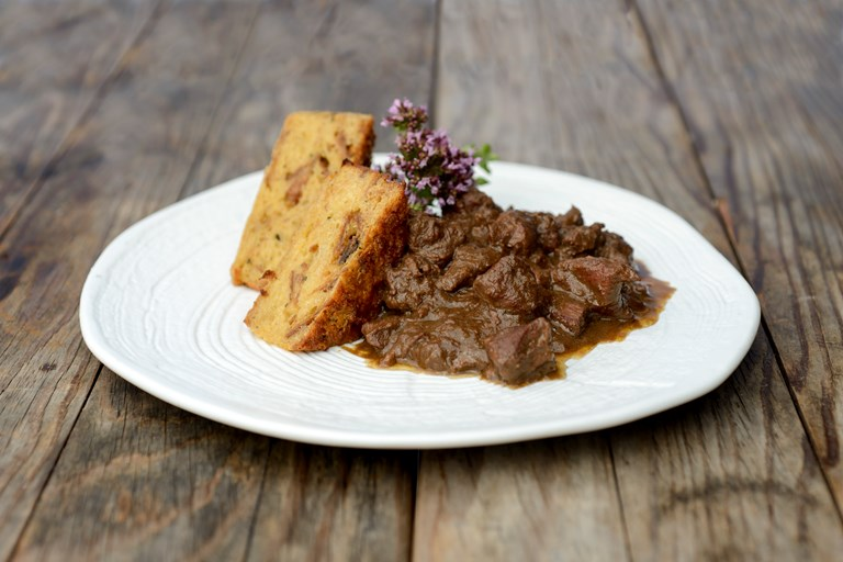 Venison goulash with bread souffle