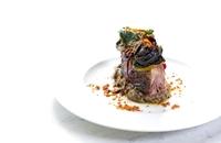 Slow roasted Croatian lamb, smoked aubergines, grilled Swiss chard