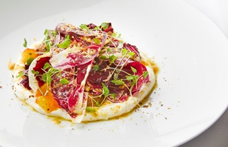 Fermented blood orange, whipped ricotta, walnut butter and radicchio salad