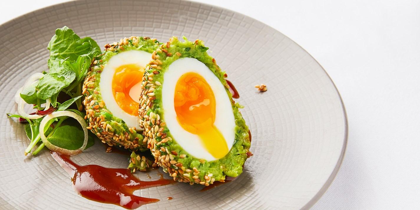 Pea and Broad Bean Vegetarian Scotch Eggs Recipe - Great British Chefs