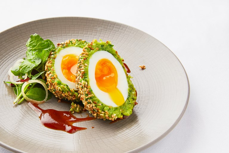 Pea and broad bean scotch eggs