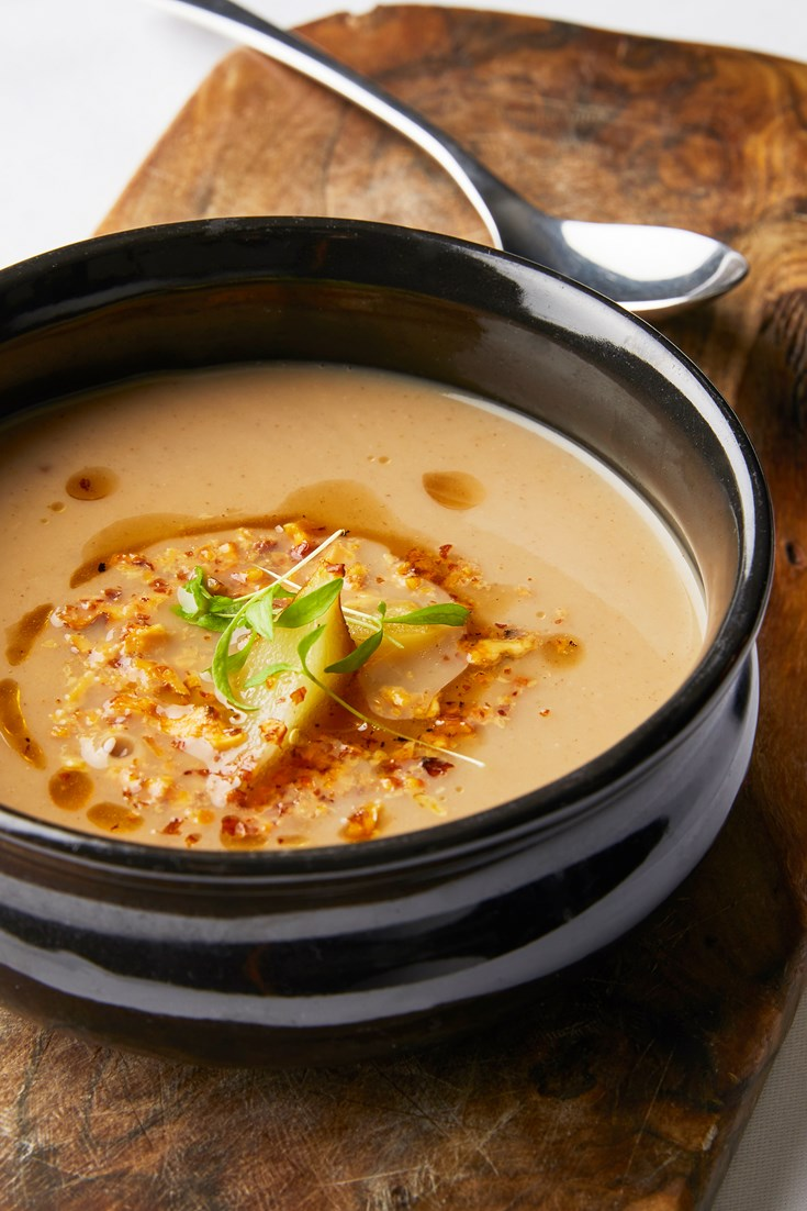 Jerusalem Artichoke Soup With Burnt Pear And Walnut Recipe Great British Chefs