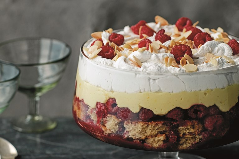 Raspberry, almond, sherry and saffron trifle