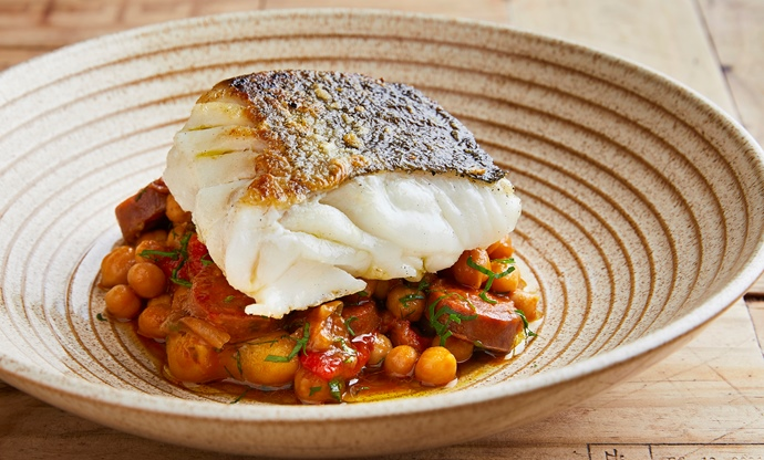 Skrei with chickpeas and chorizo stew