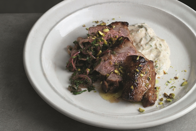 Harissa-marinated lamb with mint chutney, pistachios and yoghurt dressing
