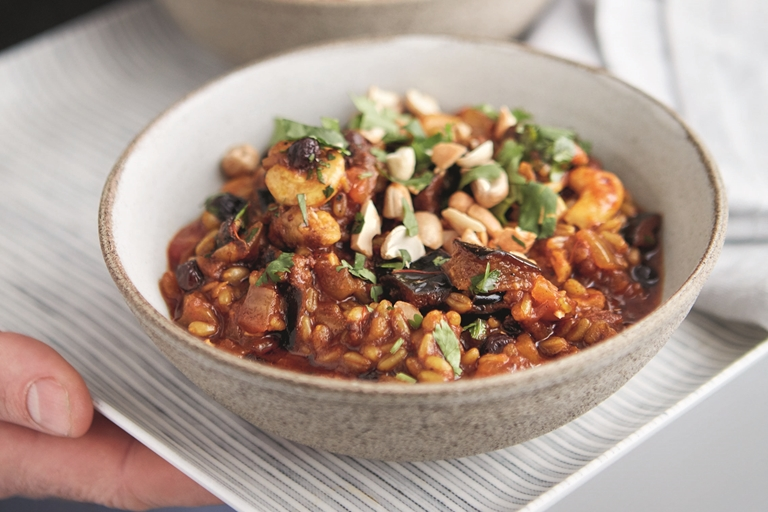 Aubergine, freekeh and cashew tagine