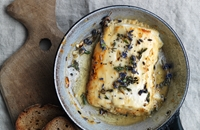Honey-baked feta with lavender, thyme and rye crisps
