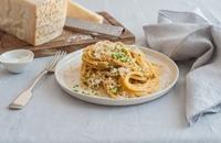 Spaghetti with Grana Padano, toasted breadcrumbs and gremolata