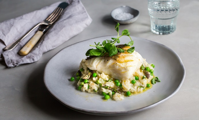 Cod With Pea And Asparagus Risotto Recipe Great British