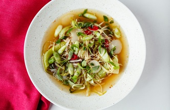 Asian-style aromatic vegetable broth with soft noodles, pak choi and shiitake mushrooms