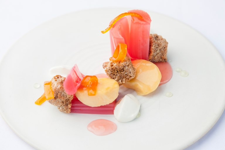 Rhubarb and custard with kumquat and crystallised ginger cake