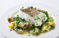 Cod with spring vegetables