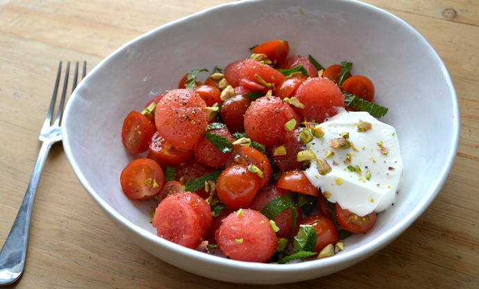 Tomato, watermelon and mint salad with goat's curd